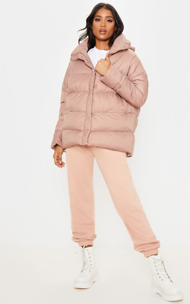 Taupe Hooded Puffer Jacket 4