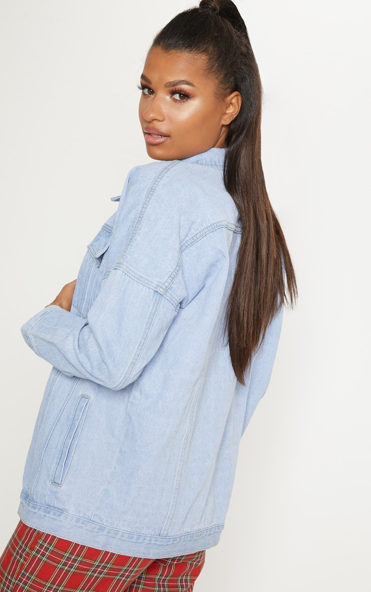 Light Wash Oversized Denim Jacket  2
