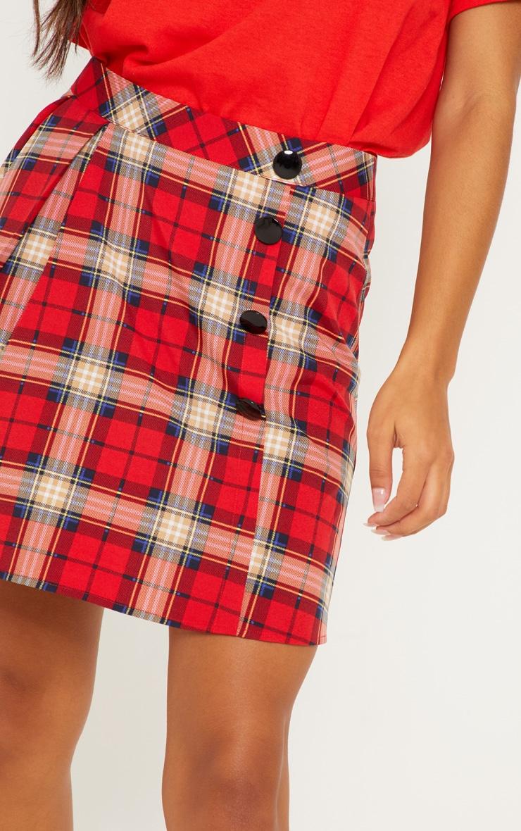 Red Tartan Pleated Button Mini Skirt 6