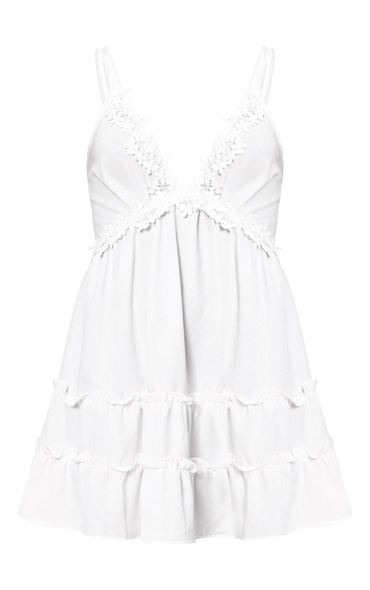 White Floral Trim Strappy Swing Dress 3