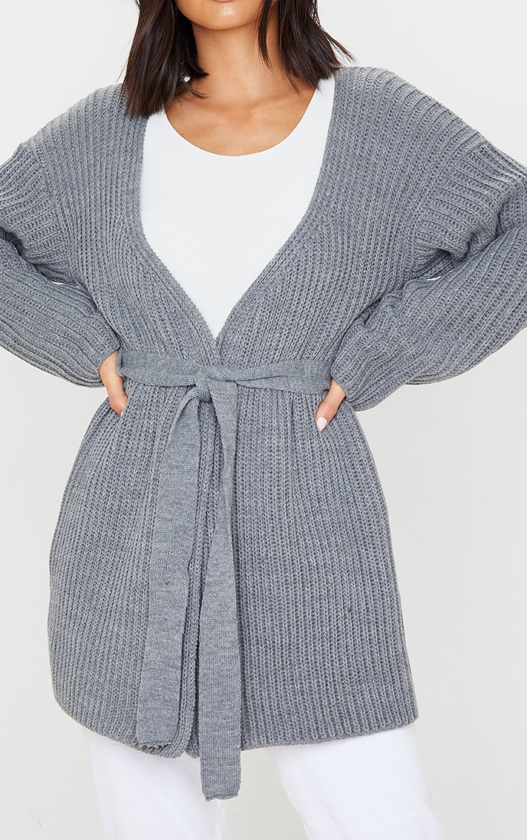 Grey Chunky Knit Wrap Cardigan 5