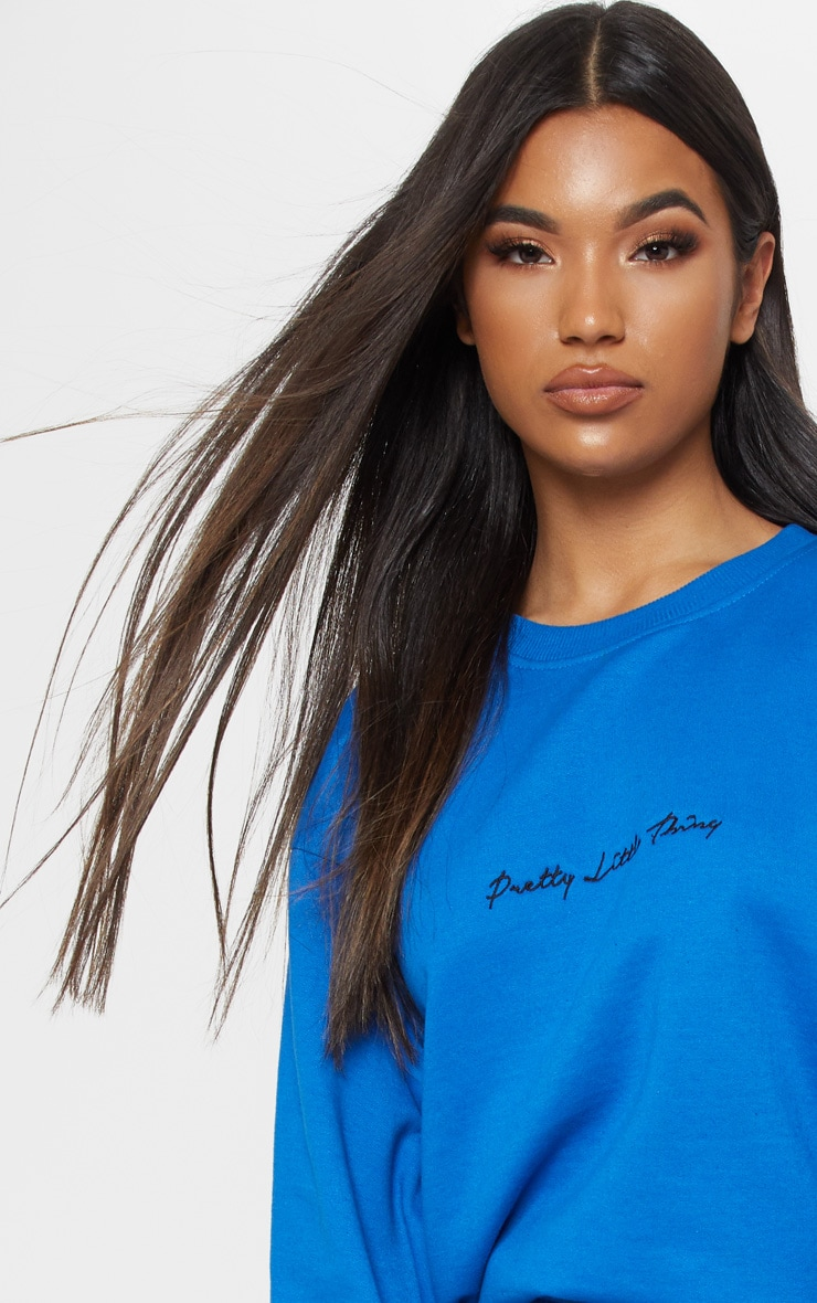 PRETTYLITTLETHING Cobalt Embroidered Oversized Sweater 5
