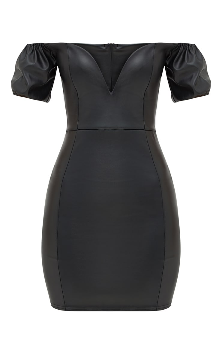 Black PU Puff Sleeve Bardot Bodycon Dress 4