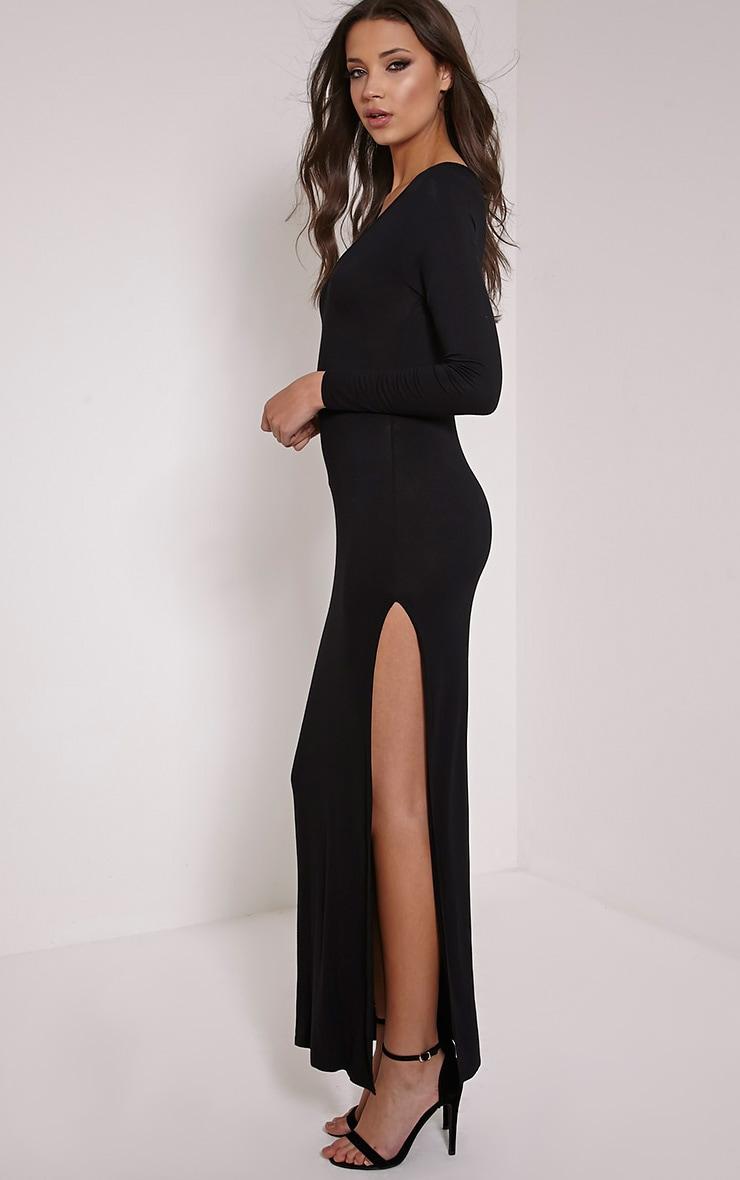Basic Black V Neck Maxi Dress 3