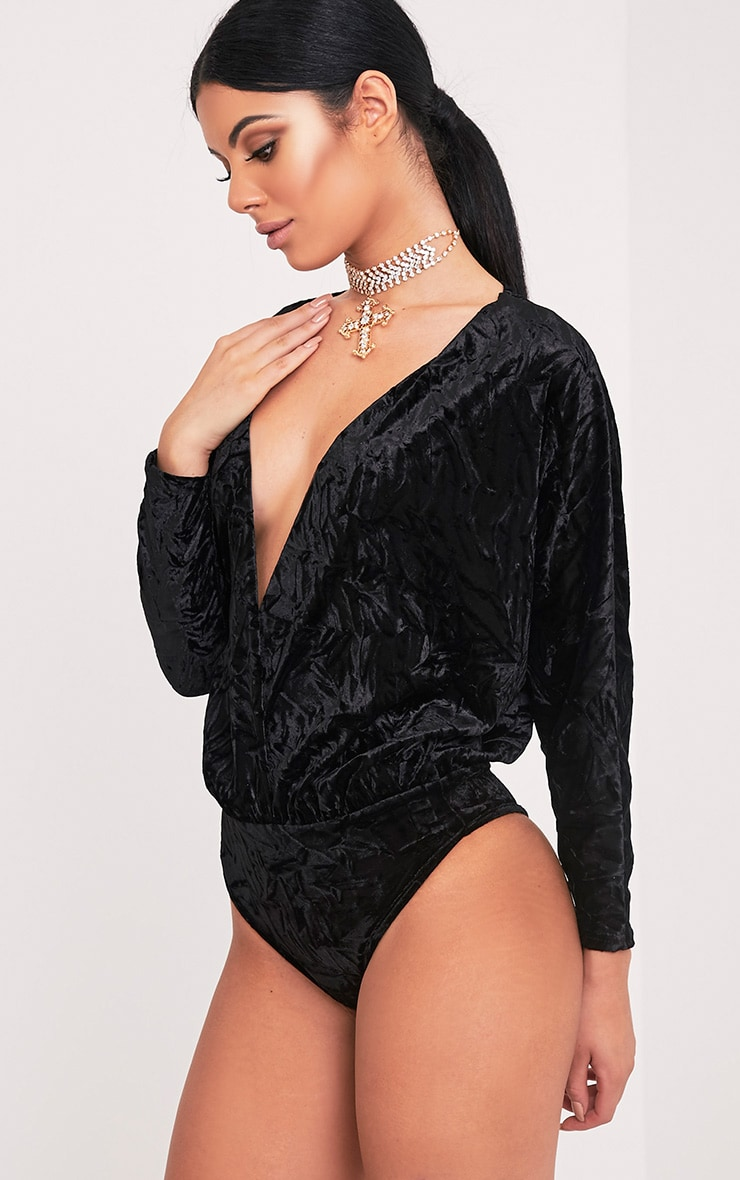 Adelle Black Crushed Velvet Plunge Thong Bodysuit 5