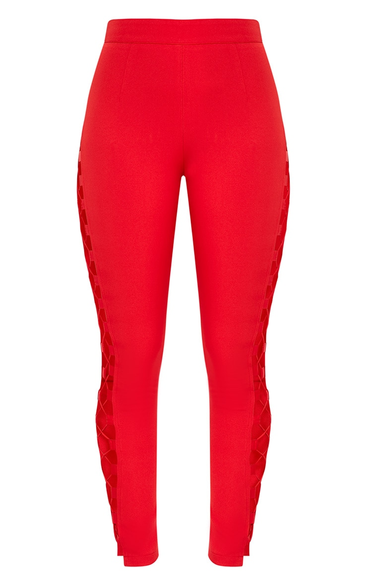 Anetta Red Lace Up Side Cigarette Trousers 4