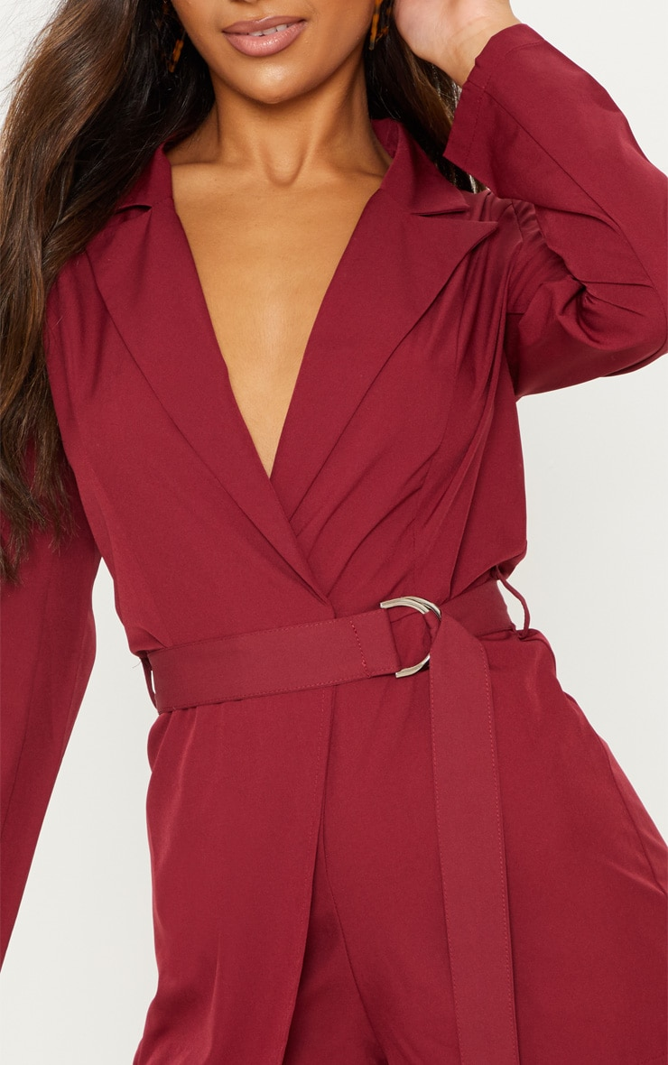 Burgundy Wrap Over Blazer Romper 5