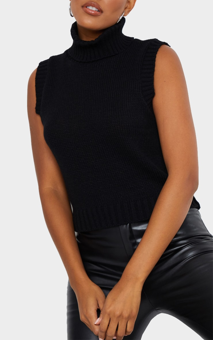 Black Roll Neck Sleeveless Knitted Top 4