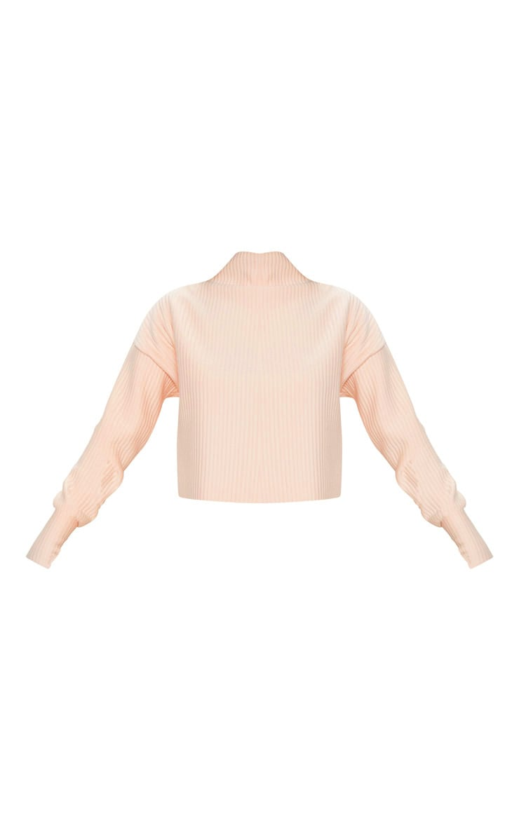 Blush Jumbo Rib High Neck Long Sleeve Sweater 3