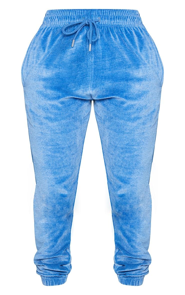 PRETTYLITTLETHING Shape Blue Velour Skinny Joggers 5