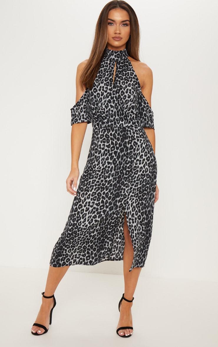 8250ec17cc Grey Leopard Print Cold Shoulder Midi Dress image 1