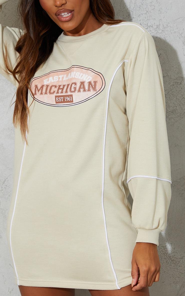 Recycled Stone Michigan Slogan Contrast Binding Sweat Jumper Dress 4