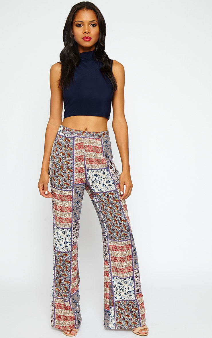 Stassia Paisley Print Flare Trousers 1