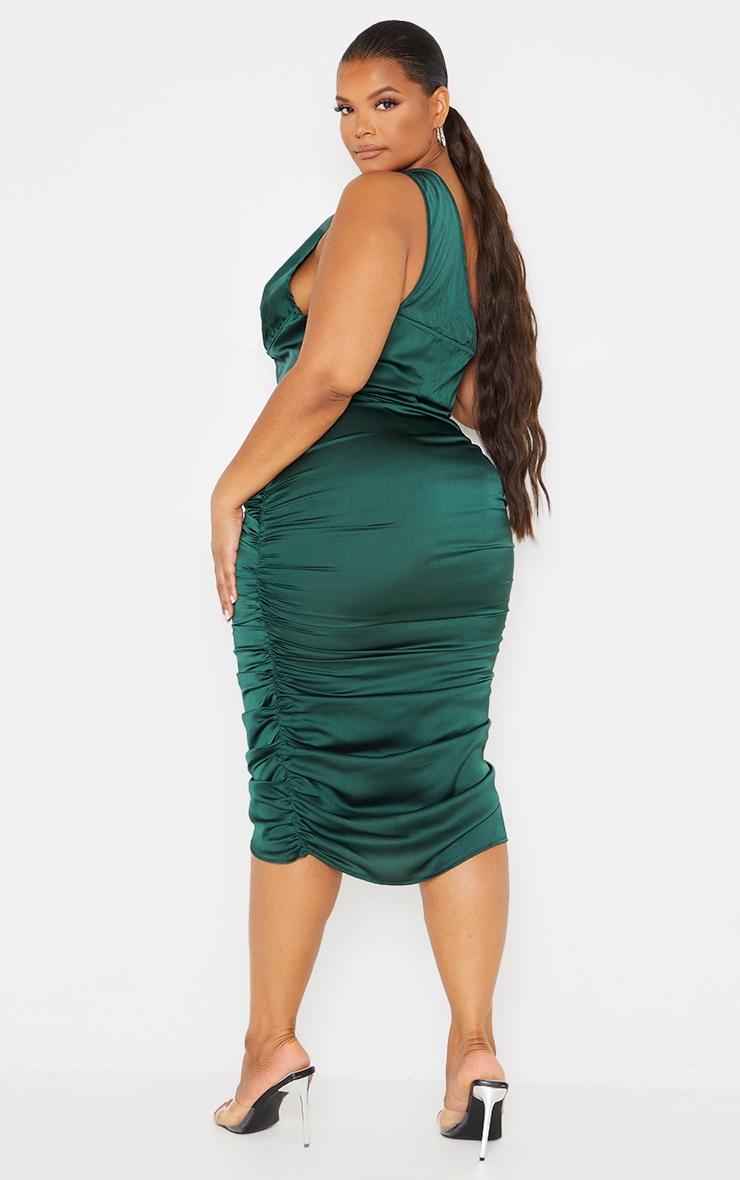 Plus Emerald Green One Shoulder Corset Ruched Satin Midi Dress 2