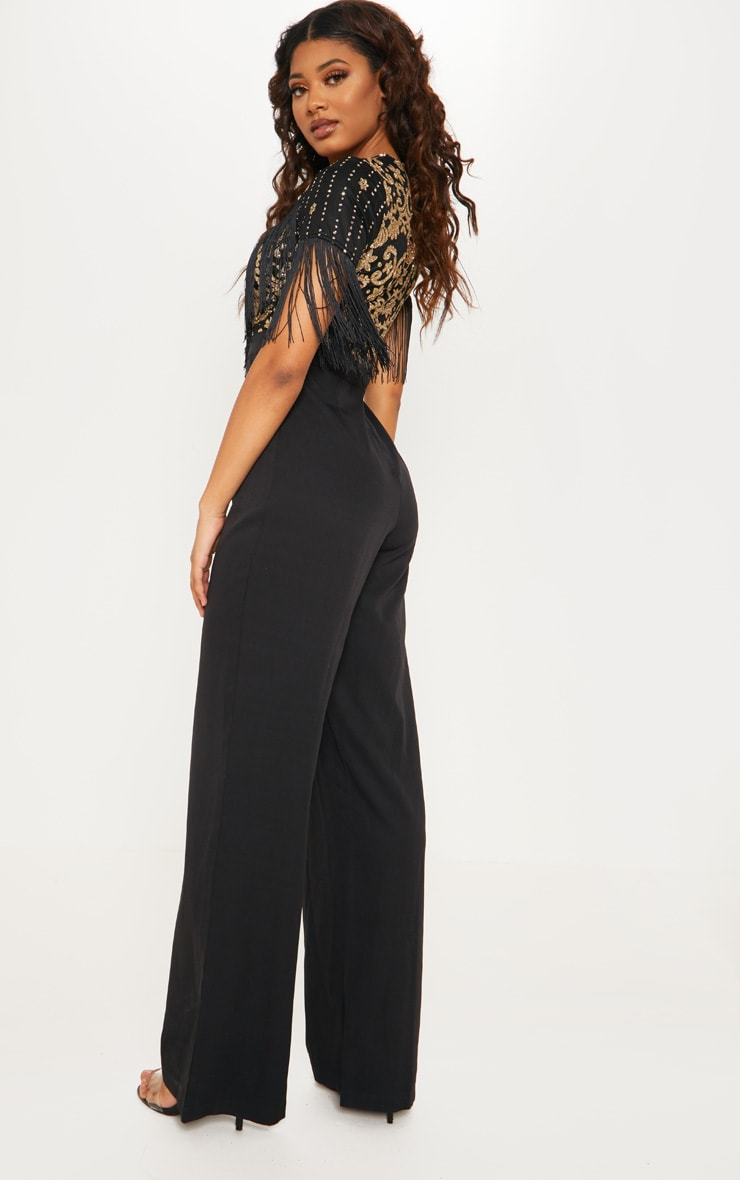 Tall Black Sequin Embroidered Tassel Front Jumpsuit 2