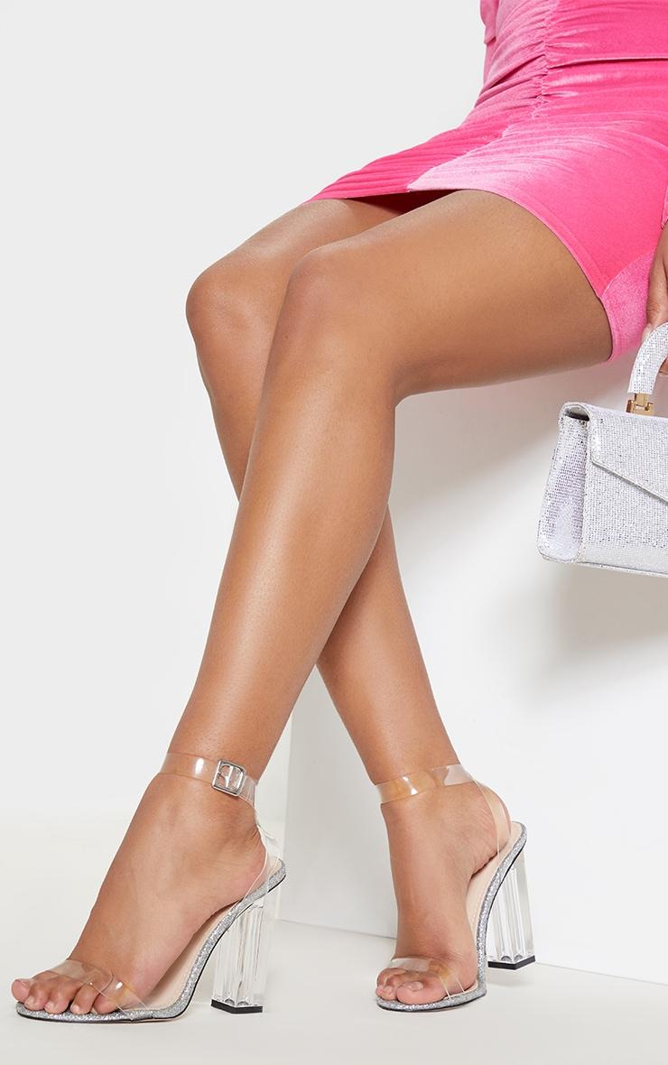 Silver Glitter Sole Clear Heels 1