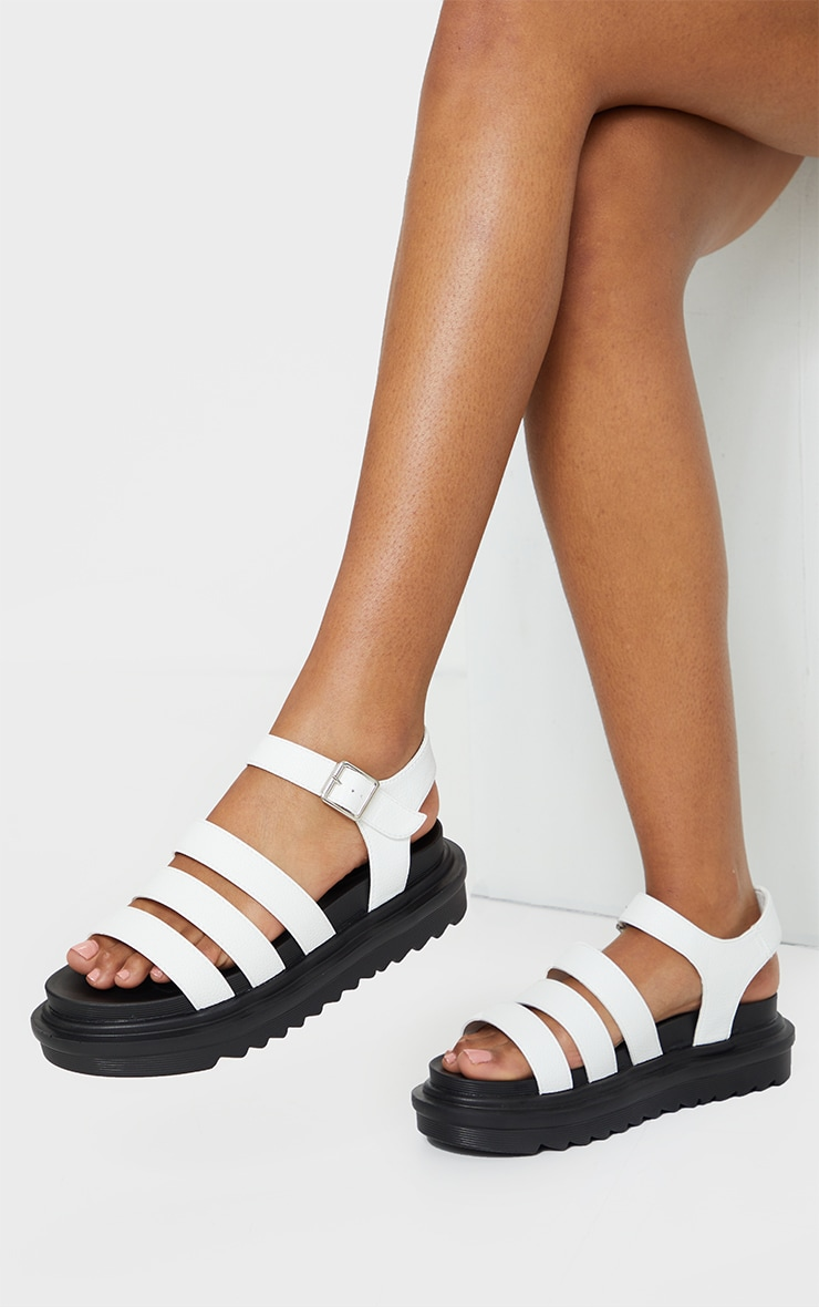 White Contrast Chunky Gladiator Sandals 1