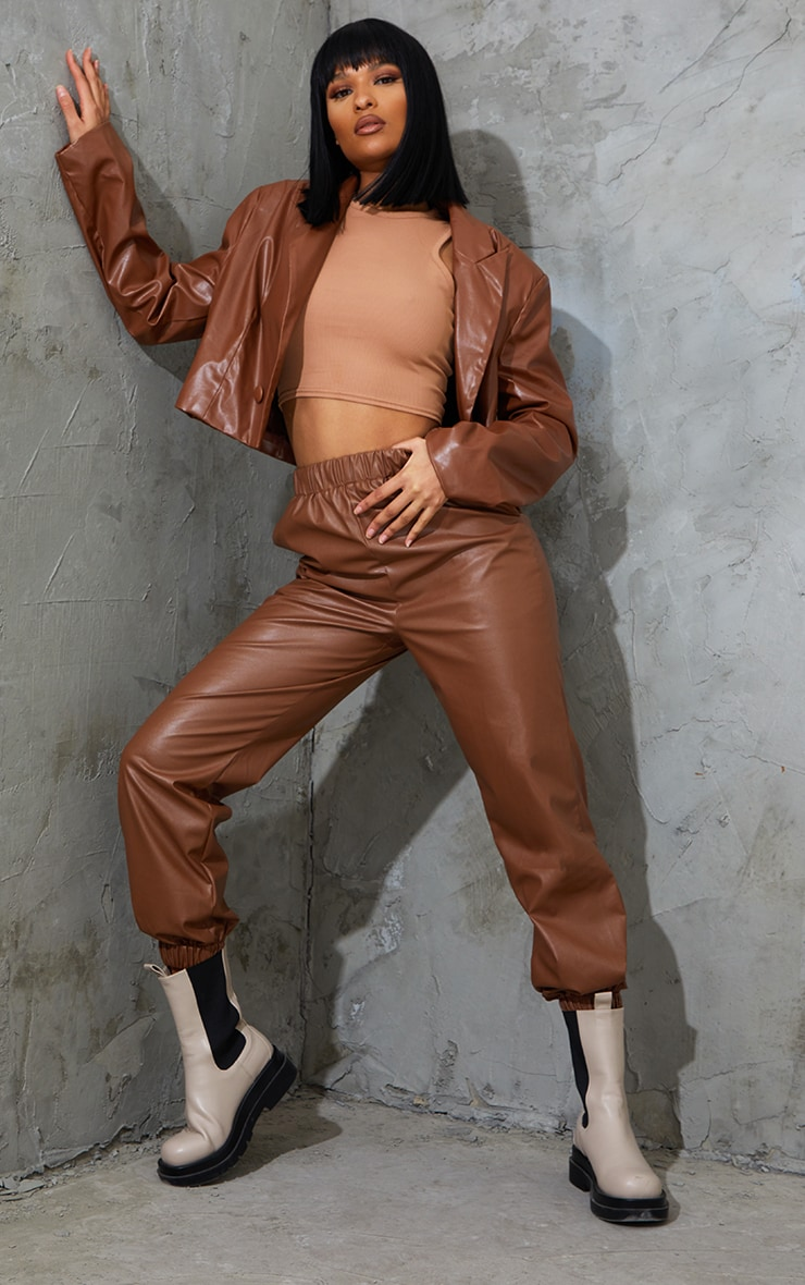 Chocolate Faux Leather Casual Joggers 1