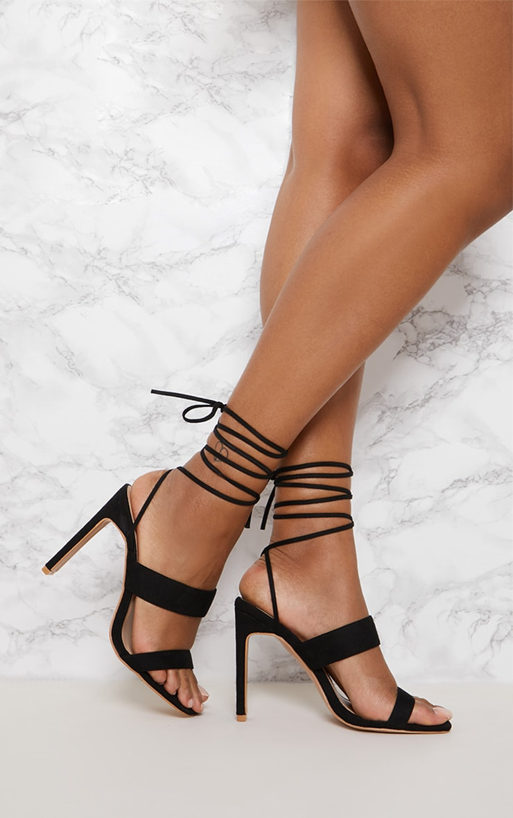 Black Faux Suede Ankle Lace Up Mule Heel