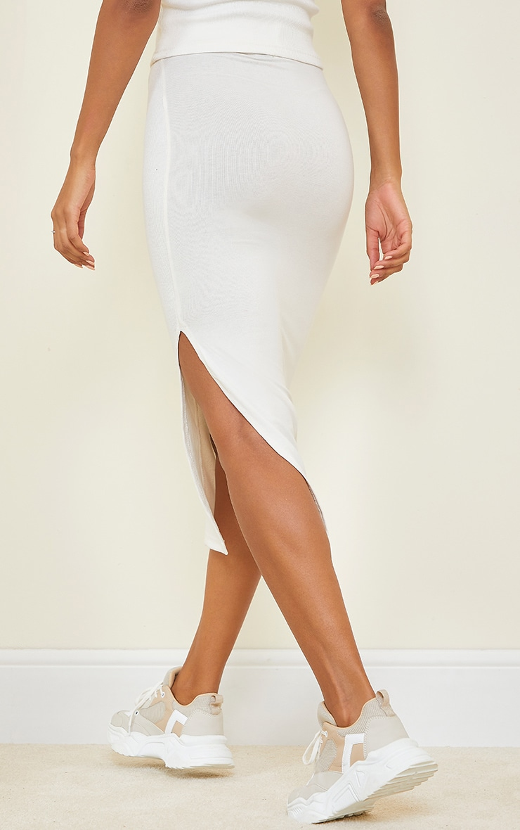 Cream Thick Rib Split Side Midaxi Skirt 3