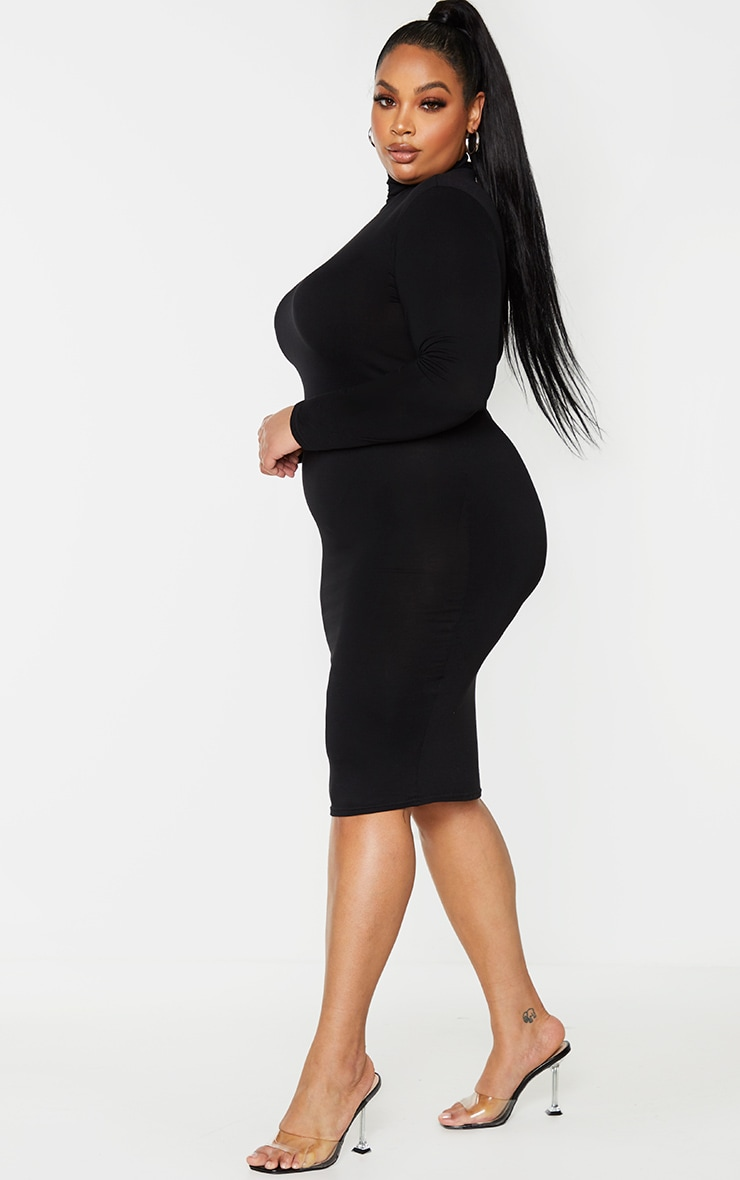 Plus Basic Black Roll Neck Midi Dress 3