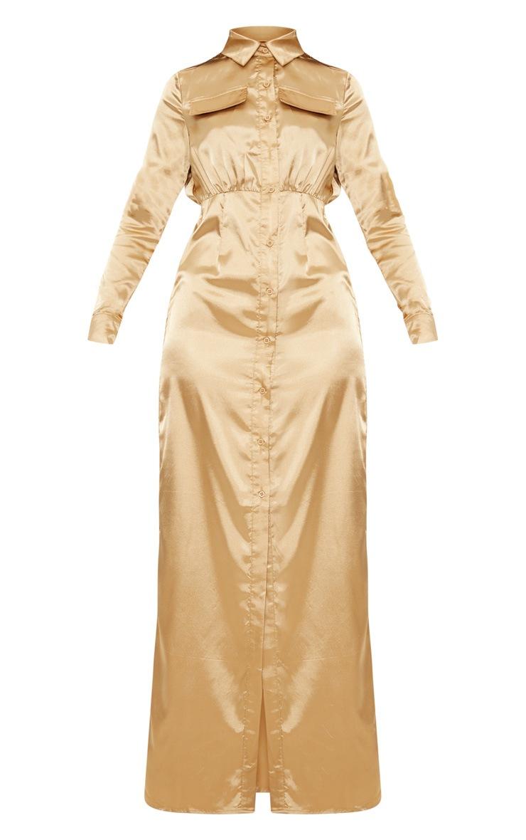 Camel Satin Utility Maxi Dress 3