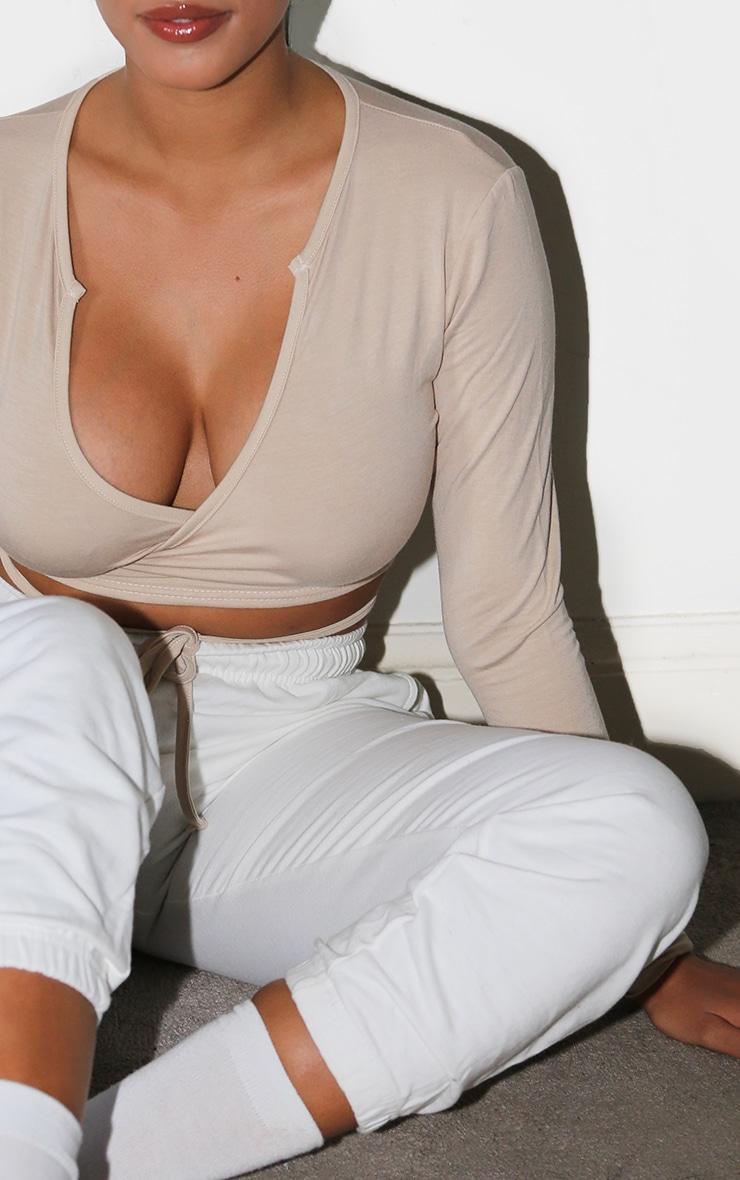 Shape Stone Jersey Tie Front Long Sleeve Crop Top 4