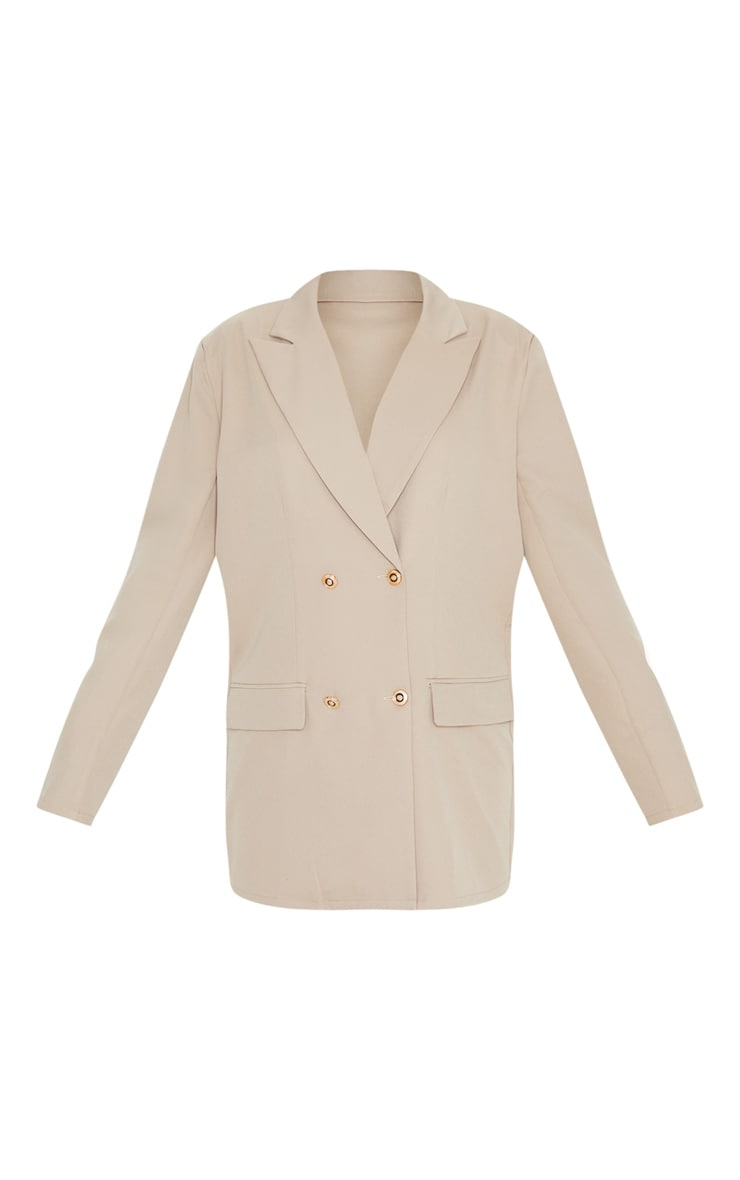 Taupe Shoulder Pad Oversized Double Breasted Blazer 3
