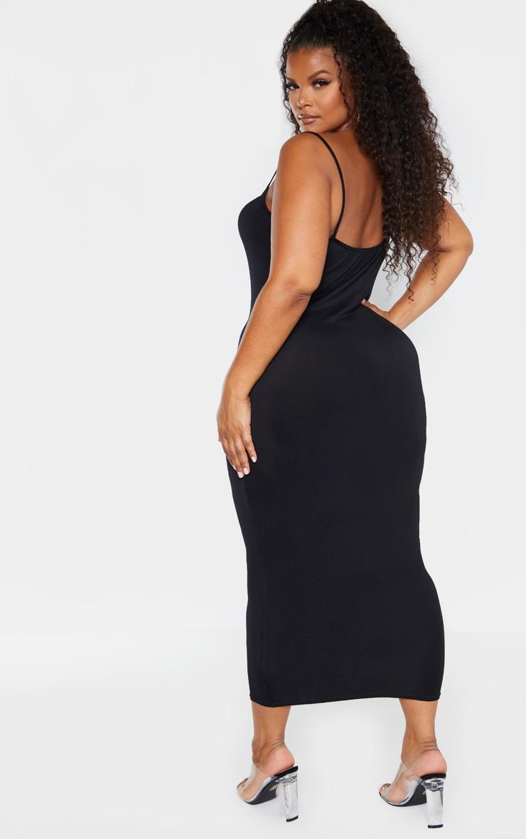 Plus Black Strappy Jersey Maxi Dress 2