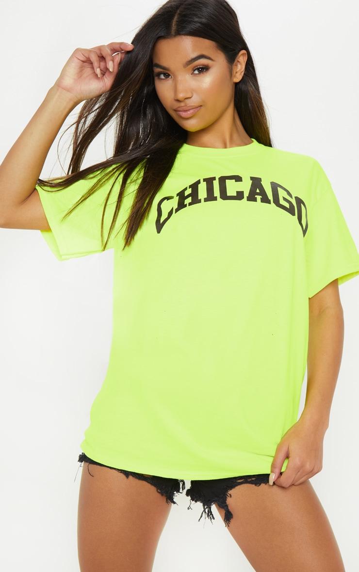 Neon Yellow Chicago Slogan T Shirt 1