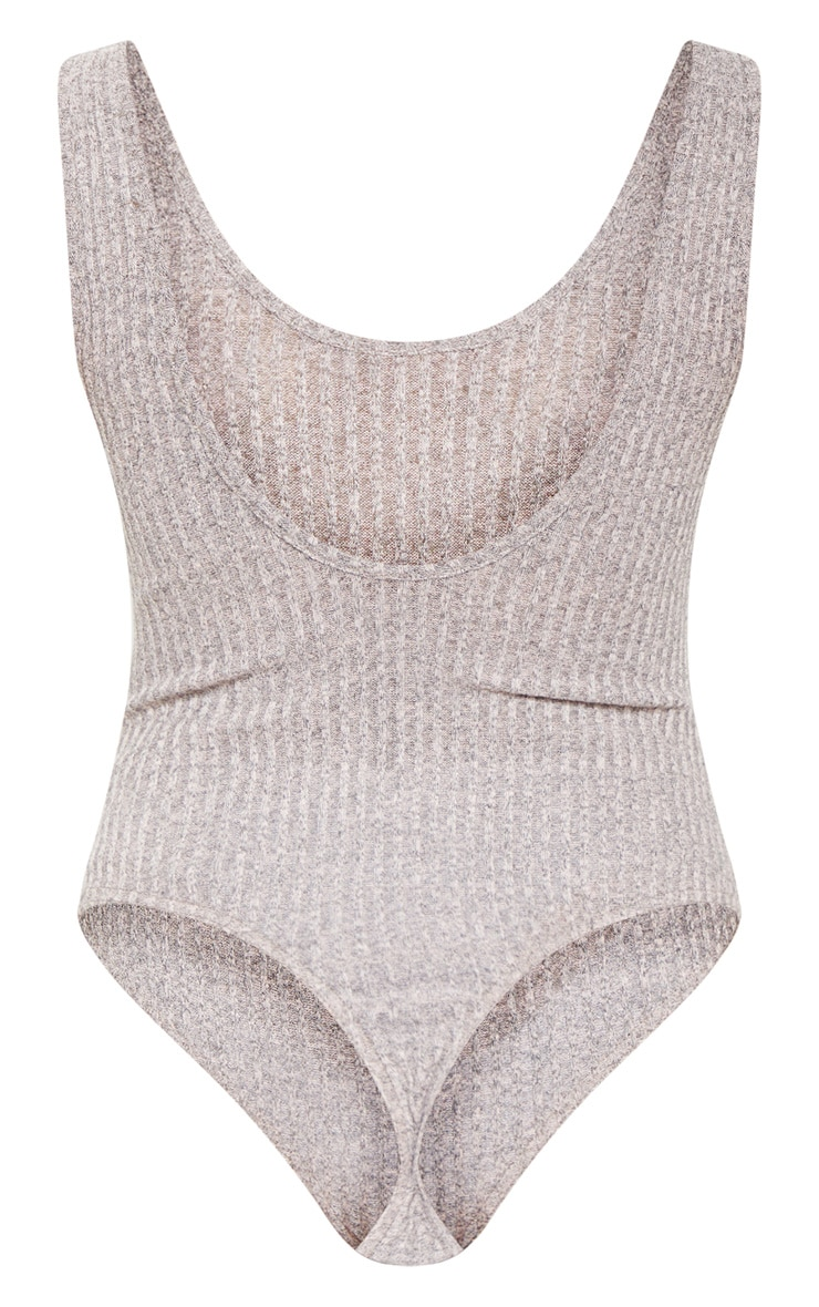 Stone Ribbed Knitted Scoop Neck Bodysuit 4