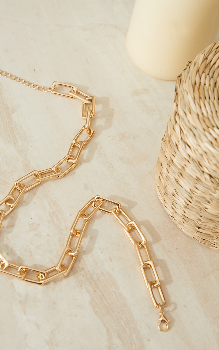 Gold Chunky Square Chain Link Necklace 3