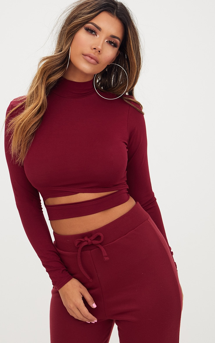 Burgundy Jersey Open Front Longsleeve Crop Top 1