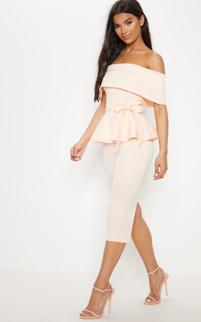 Nude Bardot Peplum Midi Dress