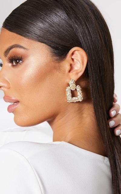 9d8ddb69cc1 Gold Textured Square Door Knocker Earrings