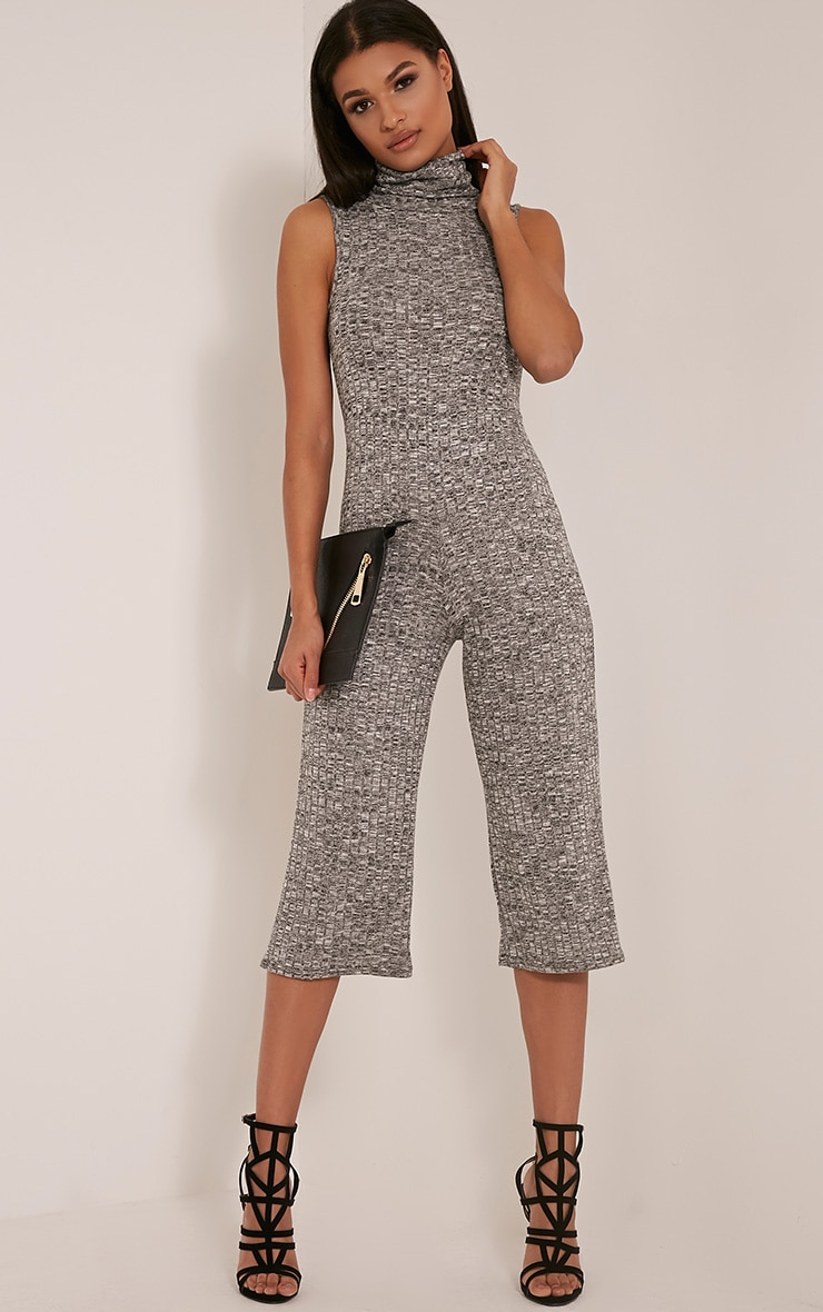Paige Grey Cowl Neck Culotte Jumpsuit 1
