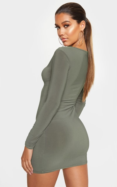 Khaki Slinky Long Sleeve bodice Cut Out Bodycon Dress