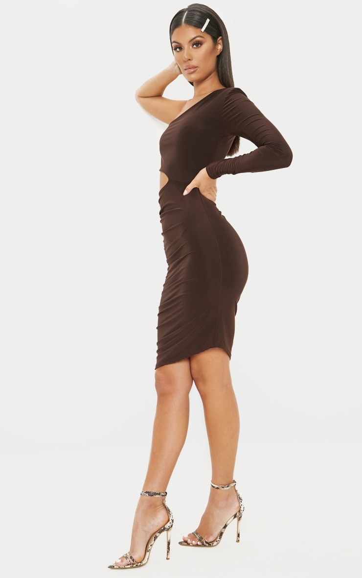 Chocolate Brown Slinky Cut Out Ruched One Sleeve Bodycon Dress 4
