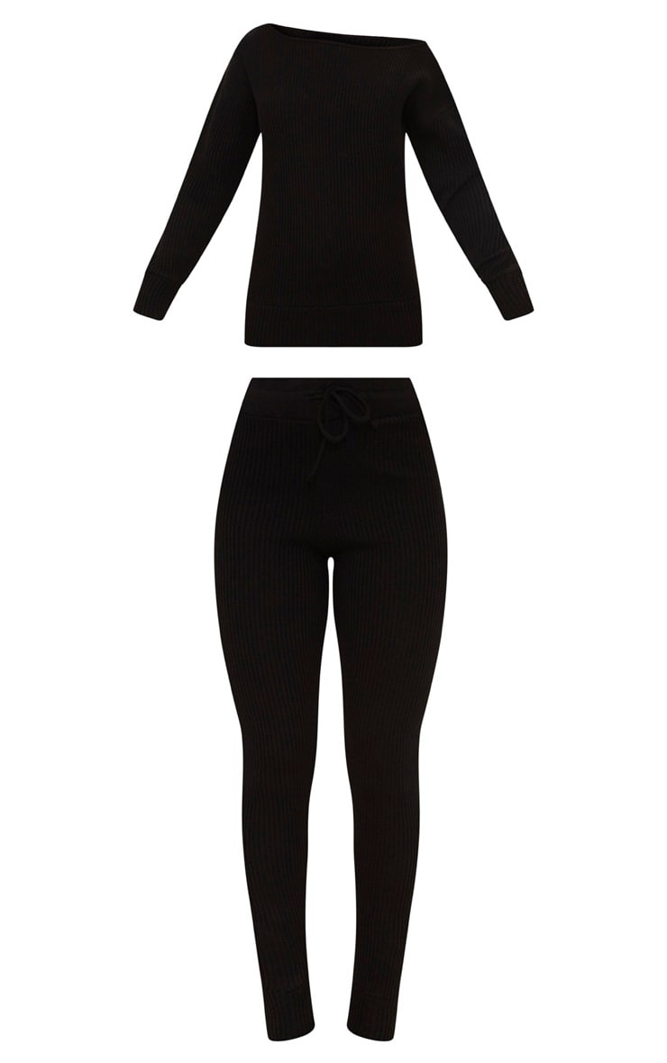 Black Knitted Rib Jogger Co Ord 3