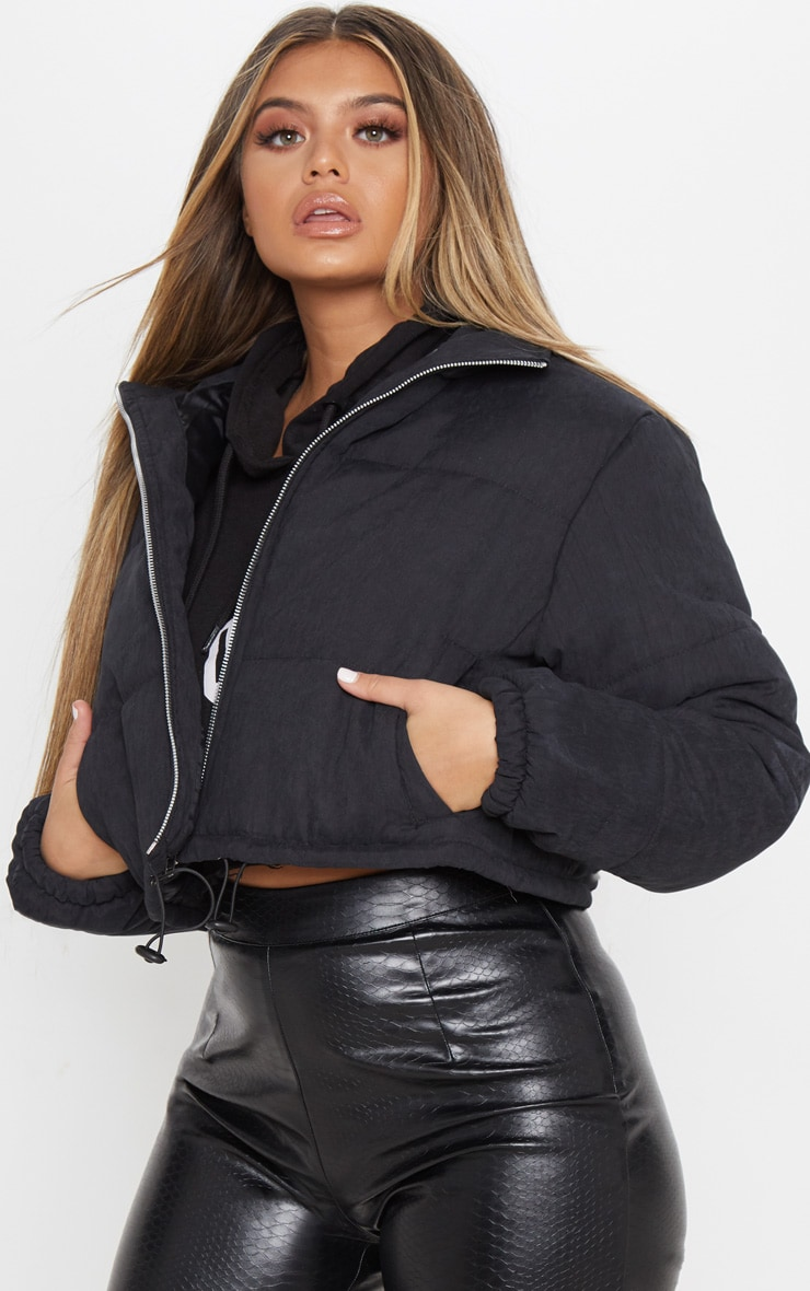 Black Super Cropped Peach Skin Puffer 4