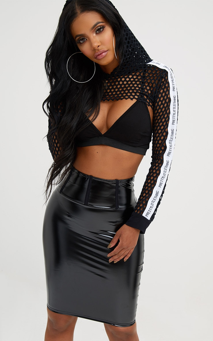 Shape Black High Waist Vinyl Mini Skirt Plt Shape