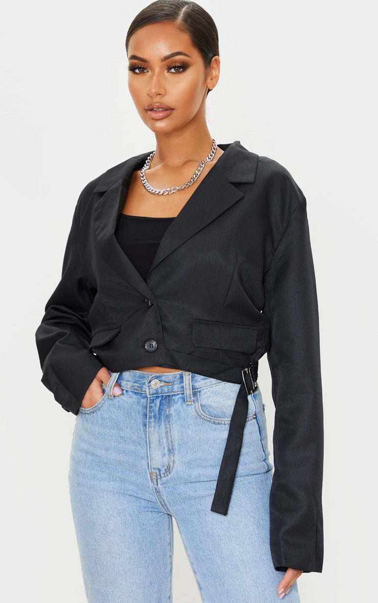 Black Woven Cropped Belt Detail Blazer 1