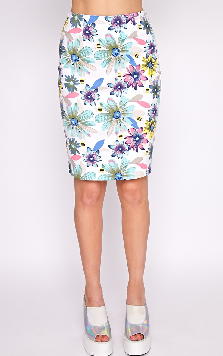 Ashleigh Mint Floral Midi Skirt  5