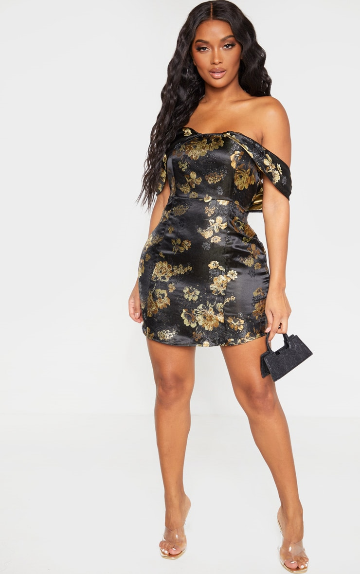 Shape Black Floral Bardot Bodycon Dress 4