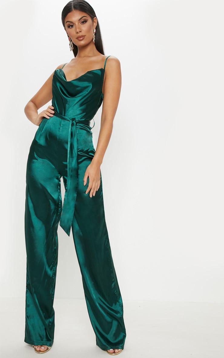 Emerald Green Cowl Neck Satin Tie Waist Jumpsuit 1