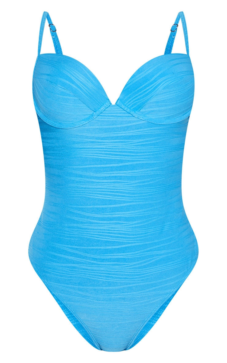 Turquoise Push Up Textured Swimsuit 3