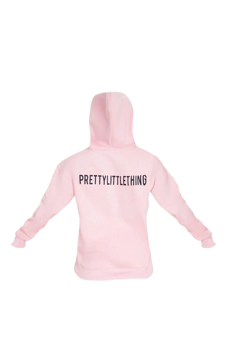 PRETTYLITTLETHING Light Pink Slogan Oversized Pocket Hoodie 6