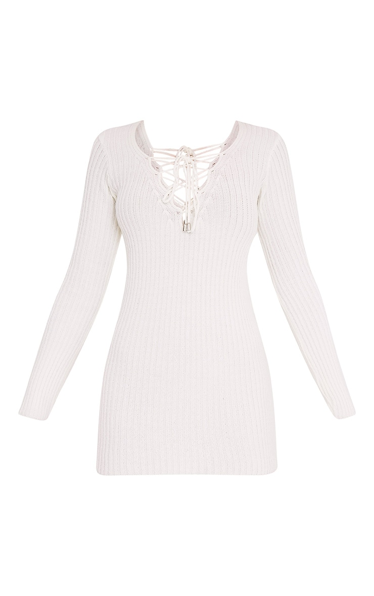 Zosia Cream Lace Up Knitted Jumper Dress 3