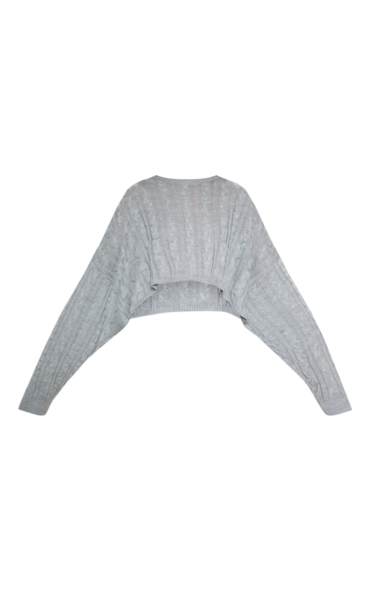 Grey Cable Cropped Knitted Jumper  3
