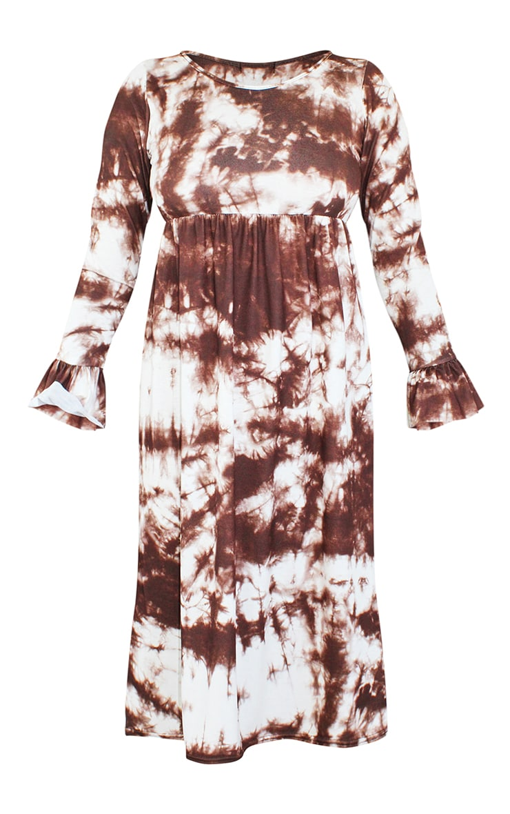 Petite Brown Long Sleeve Tie Dye Midi Smock Dress 5